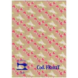 Tessuto beige con fragole...