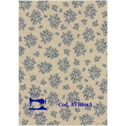 Stoffa in cotone tessuto a fiori fiorellini e pois beige cucito cm 50 x 150