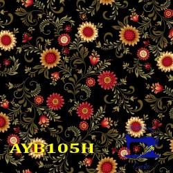 Tessuto Nero con fiori -...