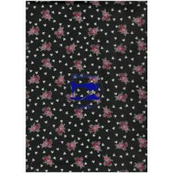 Tessuto nero con rose rosa