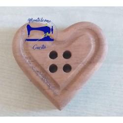Bottone cuore in legno da 9 cm