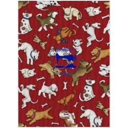 Tessuto rosso con cagnolino