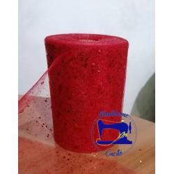 Nastro Tulle Glitteroso Rosso